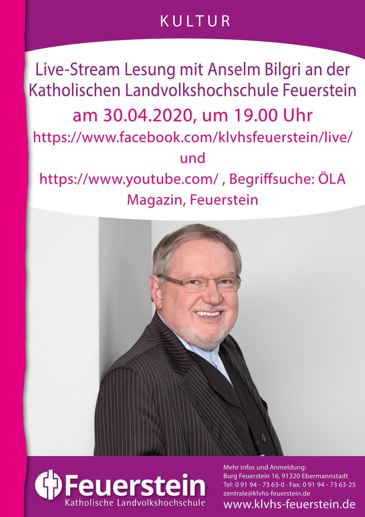 Online Lesung – Live Stream mit Anselm Bilgir von der KLVHS